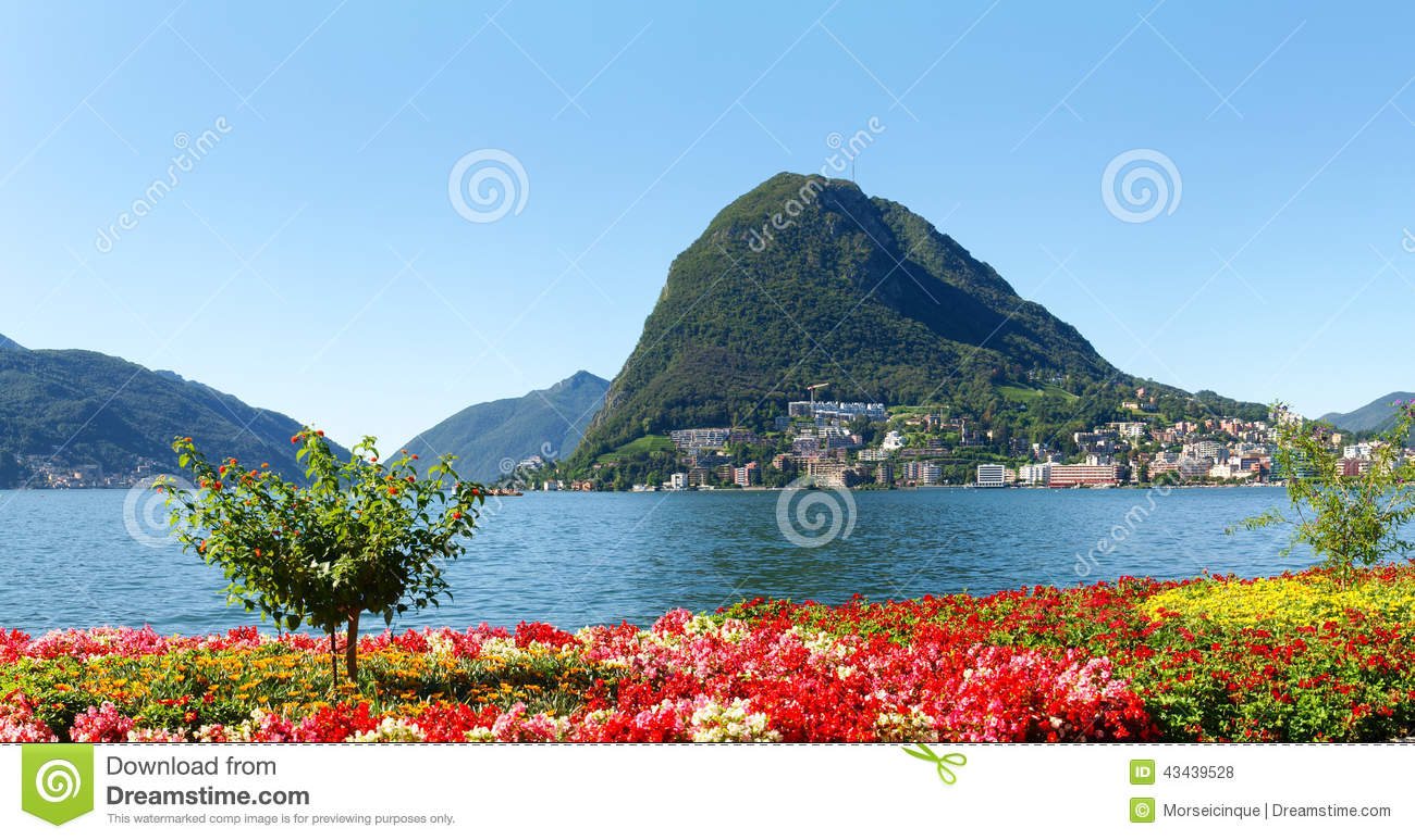 monte san salvatore seen from the park stock photo image 43439528. Black Bedroom Furniture Sets. Home Design Ideas