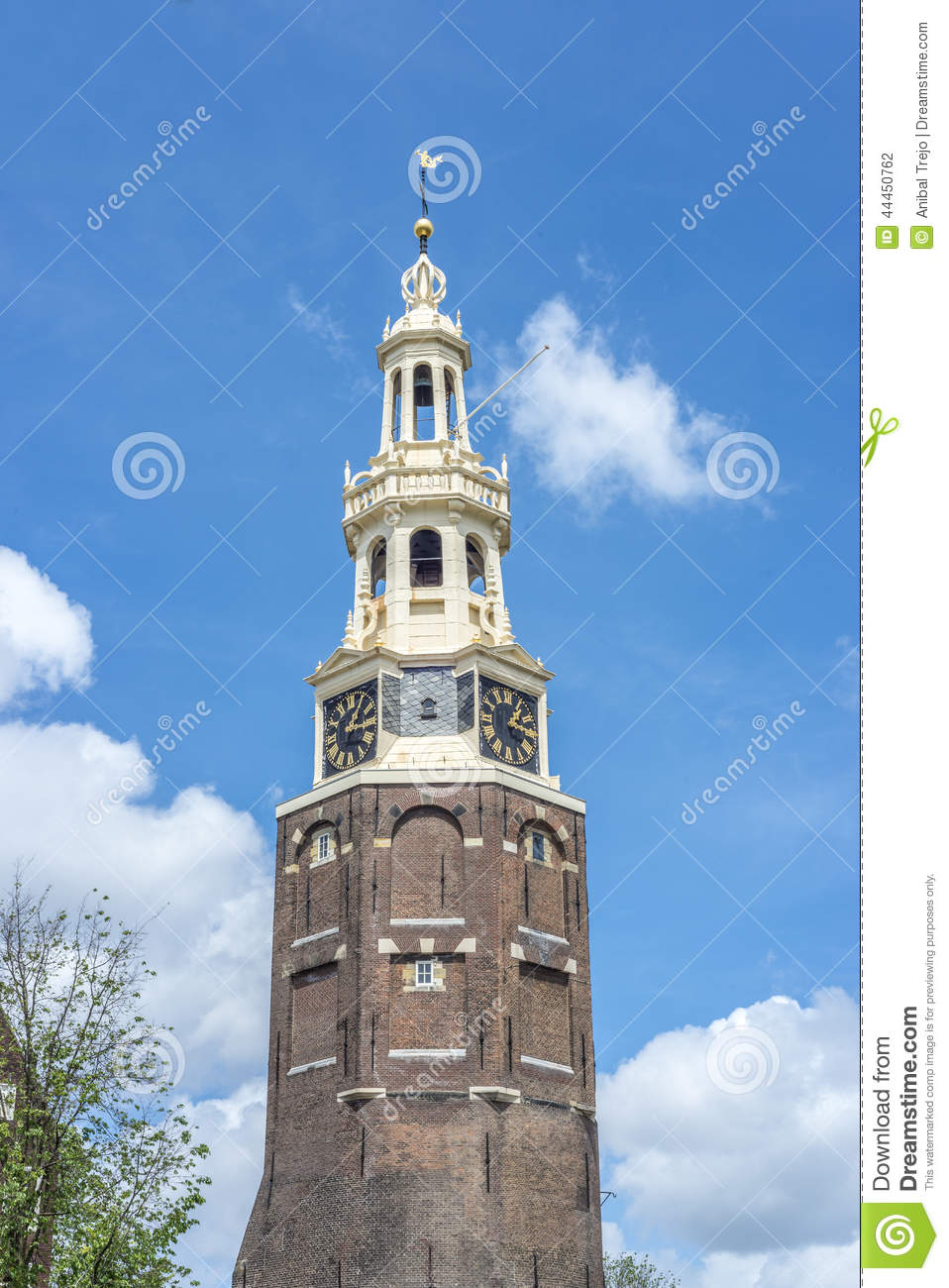 montelbaanstoren turm in amsterdam die niederlande stockfoto bild 44450762. Black Bedroom Furniture Sets. Home Design Ideas