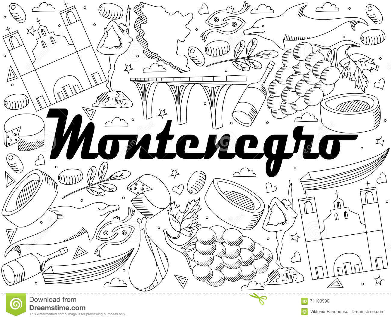 Vector Line Art Doodle Set Of Cartoon Characters And Objects On Montenegro Coloring Book
