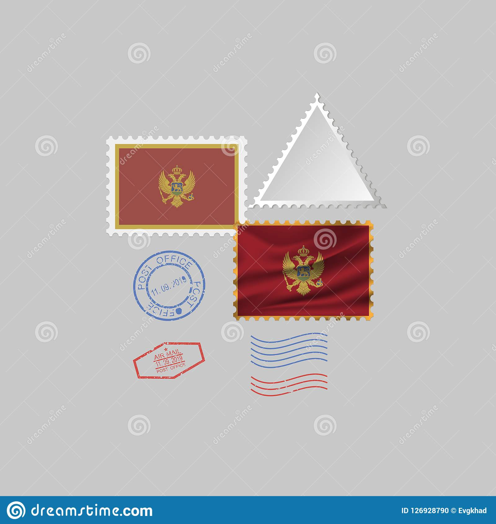 MONTENEGRO flag postage stamp set, isolated on gray background, vector illustration. 10 eps. A set of postage stamps with the image of the flag of MONTENEGRO Vector Illustration