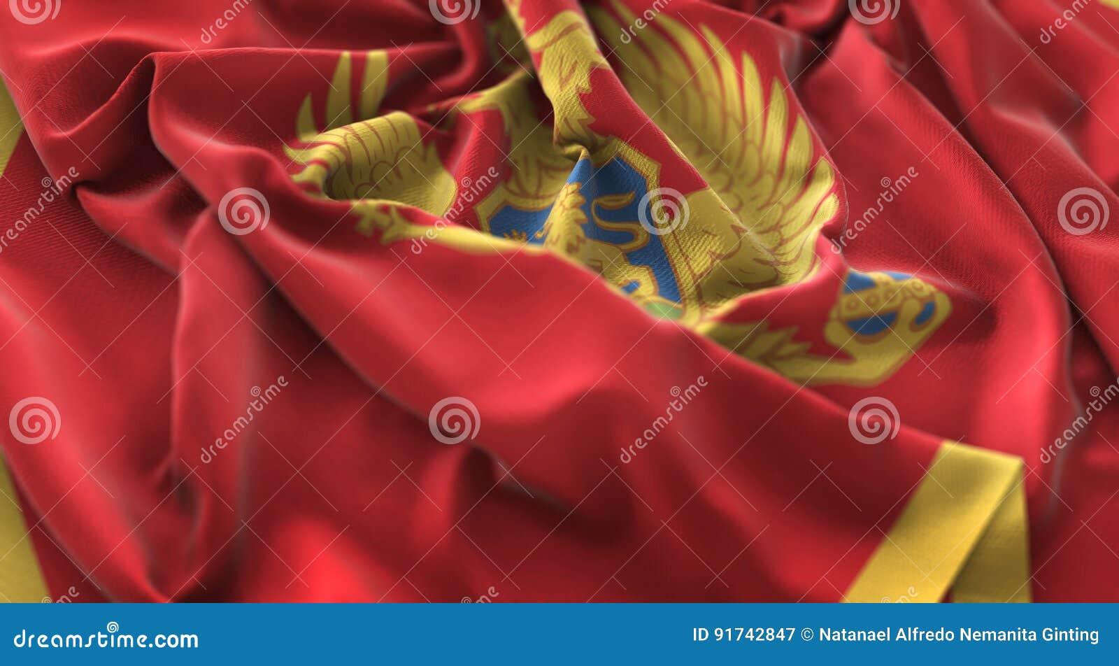 Montenegro Flag Ruffled Beautifully Waving Macro Close-Up Shot