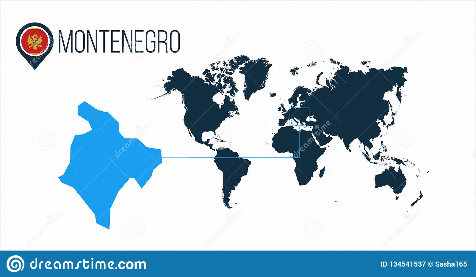 Map Of The World Without Countries.Montenegro Location On The World Map For Infographics All World