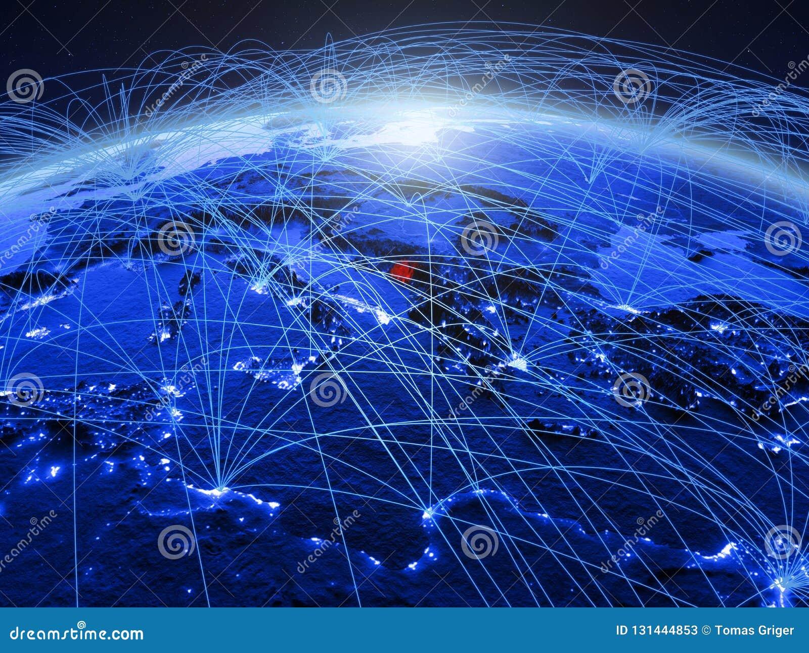 Montenegro op blauwe digitale aarde met internationaal netwerk die mededeling, reis en verbindingen vertegenwoordigen 3d