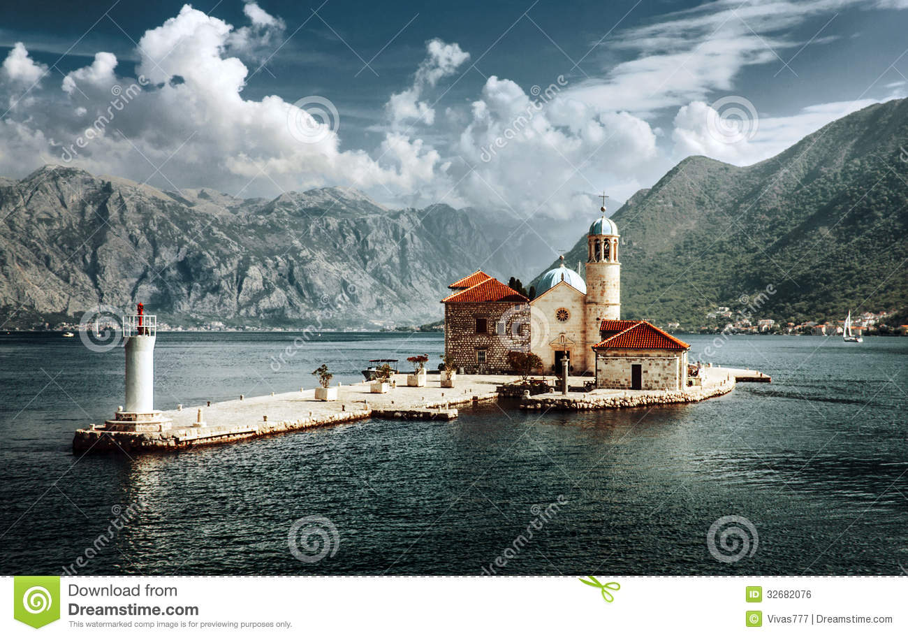 ... Lady Of The Rocks, Perast Royalty Free Stock Image - Image: 32682076