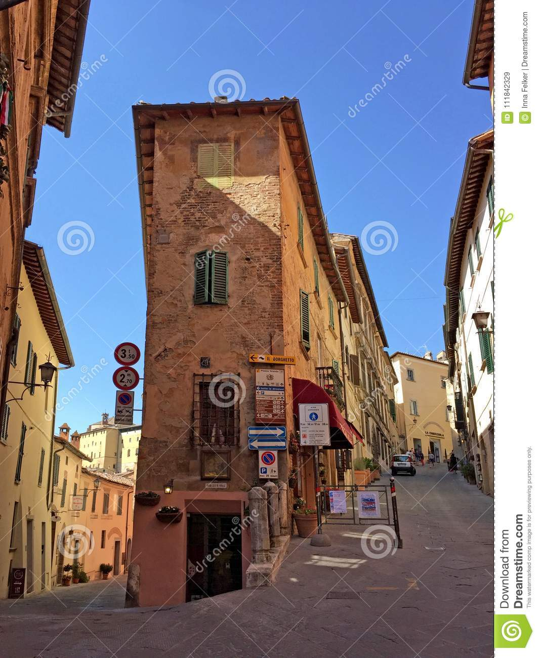 Medieval houses of Montepulciano, Tuscany, Italy
