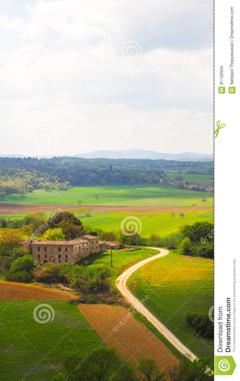 Monteriggioni Landscape with blue sky background