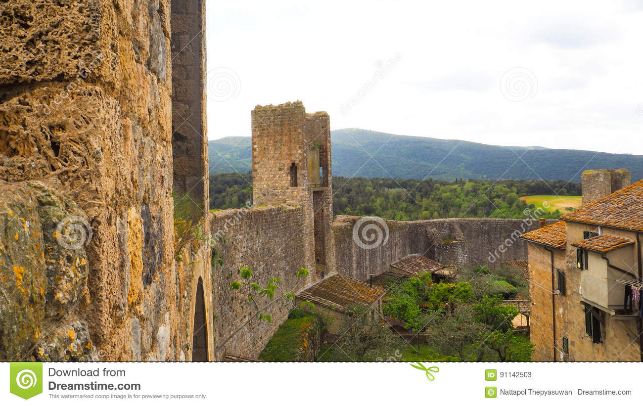 Monteriggioni town wall with blue sky background