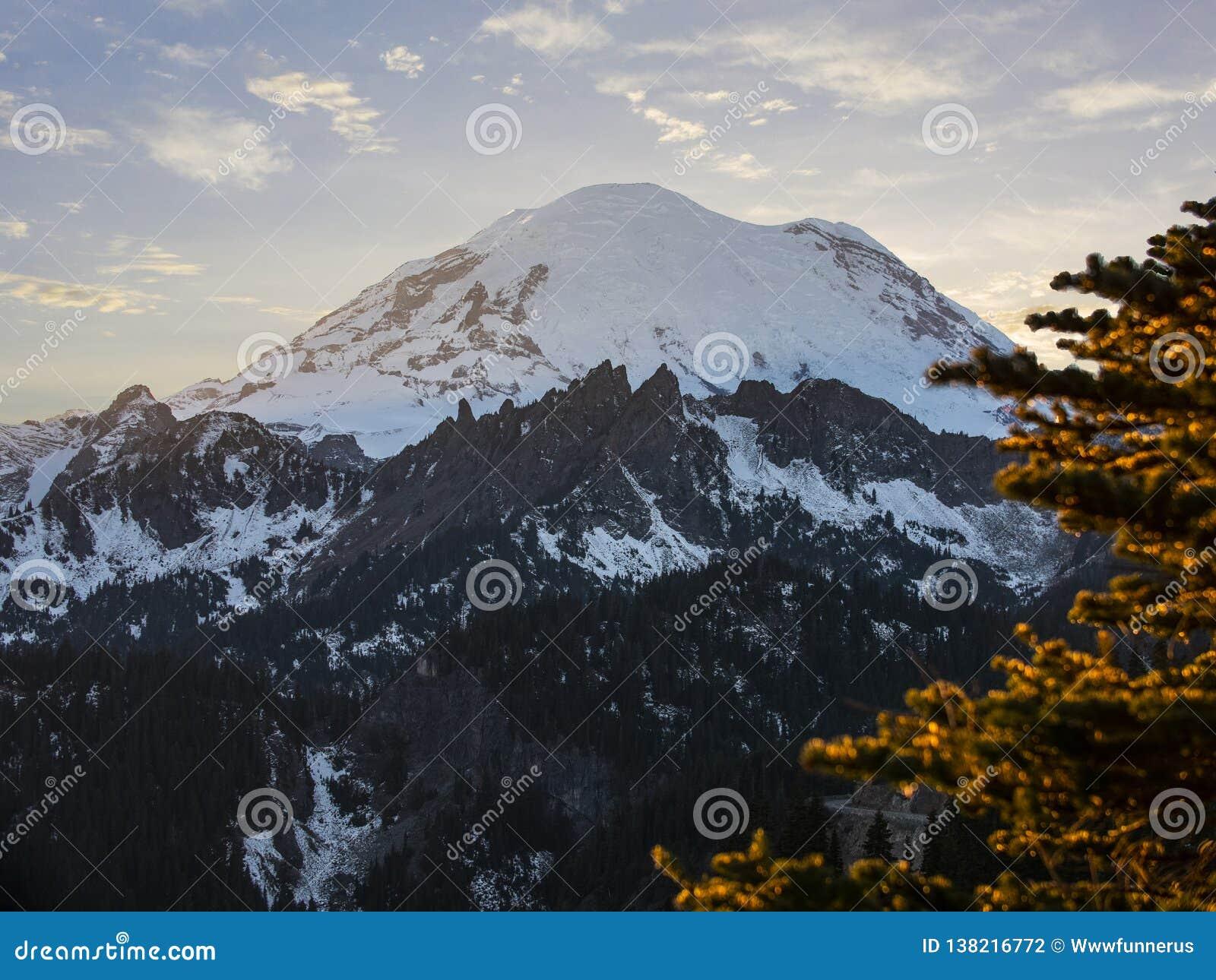 Montering Rainier National Park Mountain Peak som förbluffar solnedgång