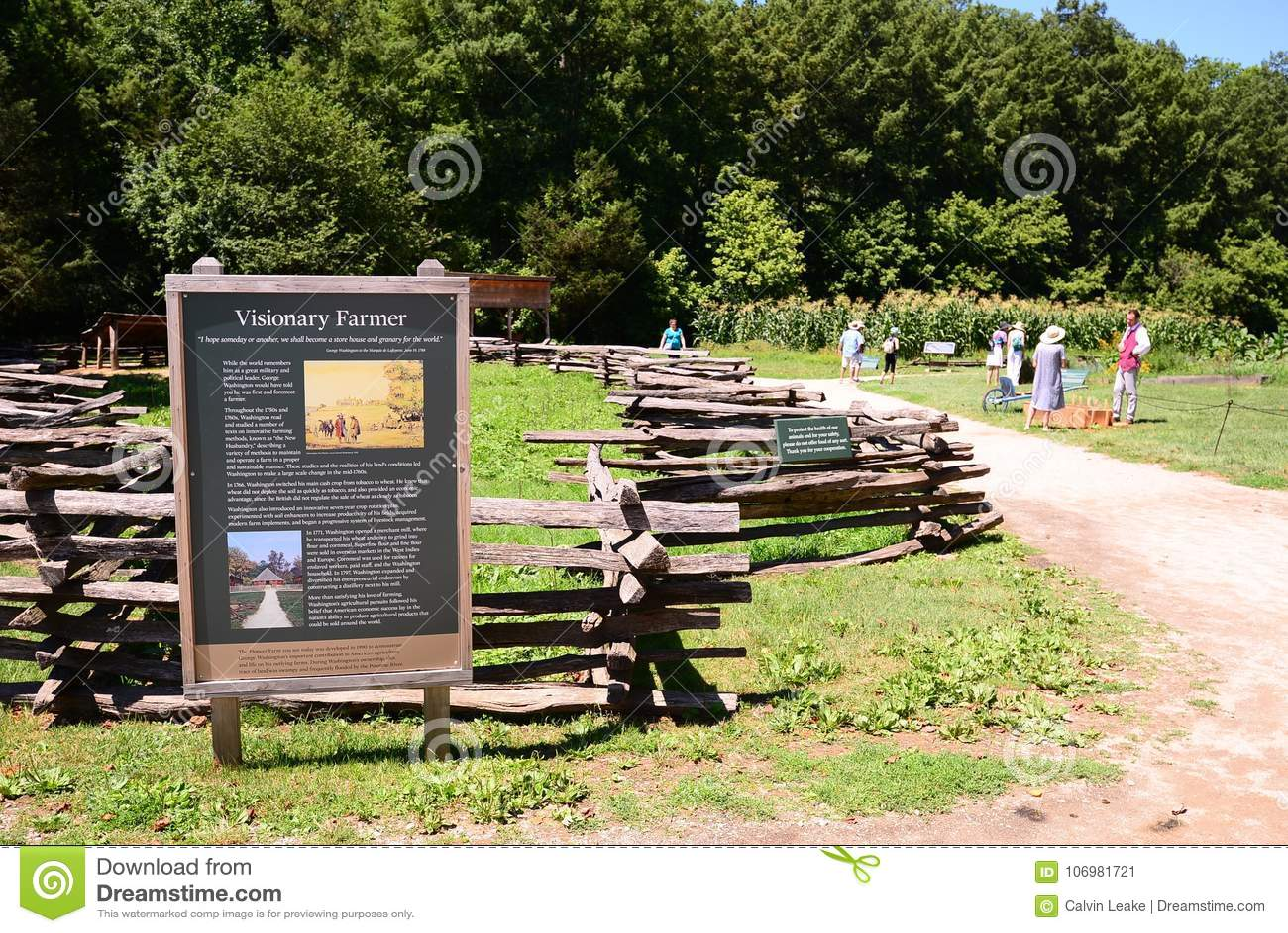 Montering Vernon Farmland Exhibit för Washington ` s