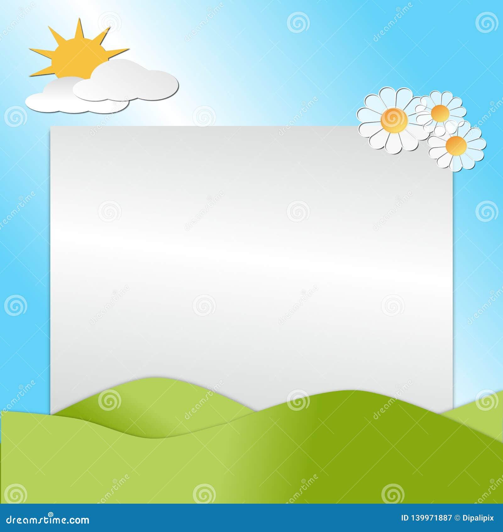 Montes, céu, sol, flores e nuvens descrevendo uma cena da mola