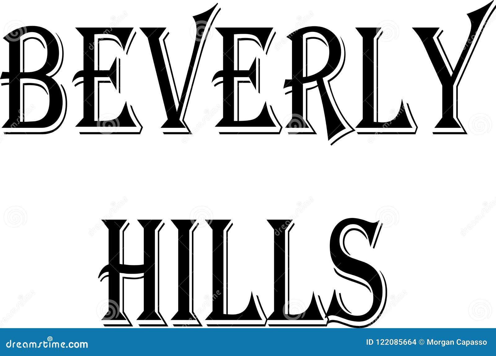 Montes de Baverly Ilustração do sinal do texto de Califórnia