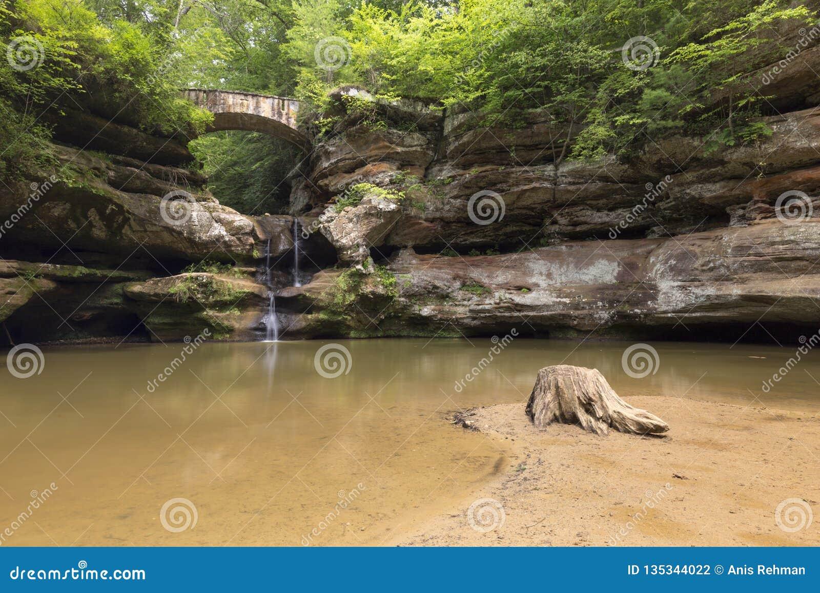 Montes de Hocking, cachoeiras, bonitas, OHio, curso