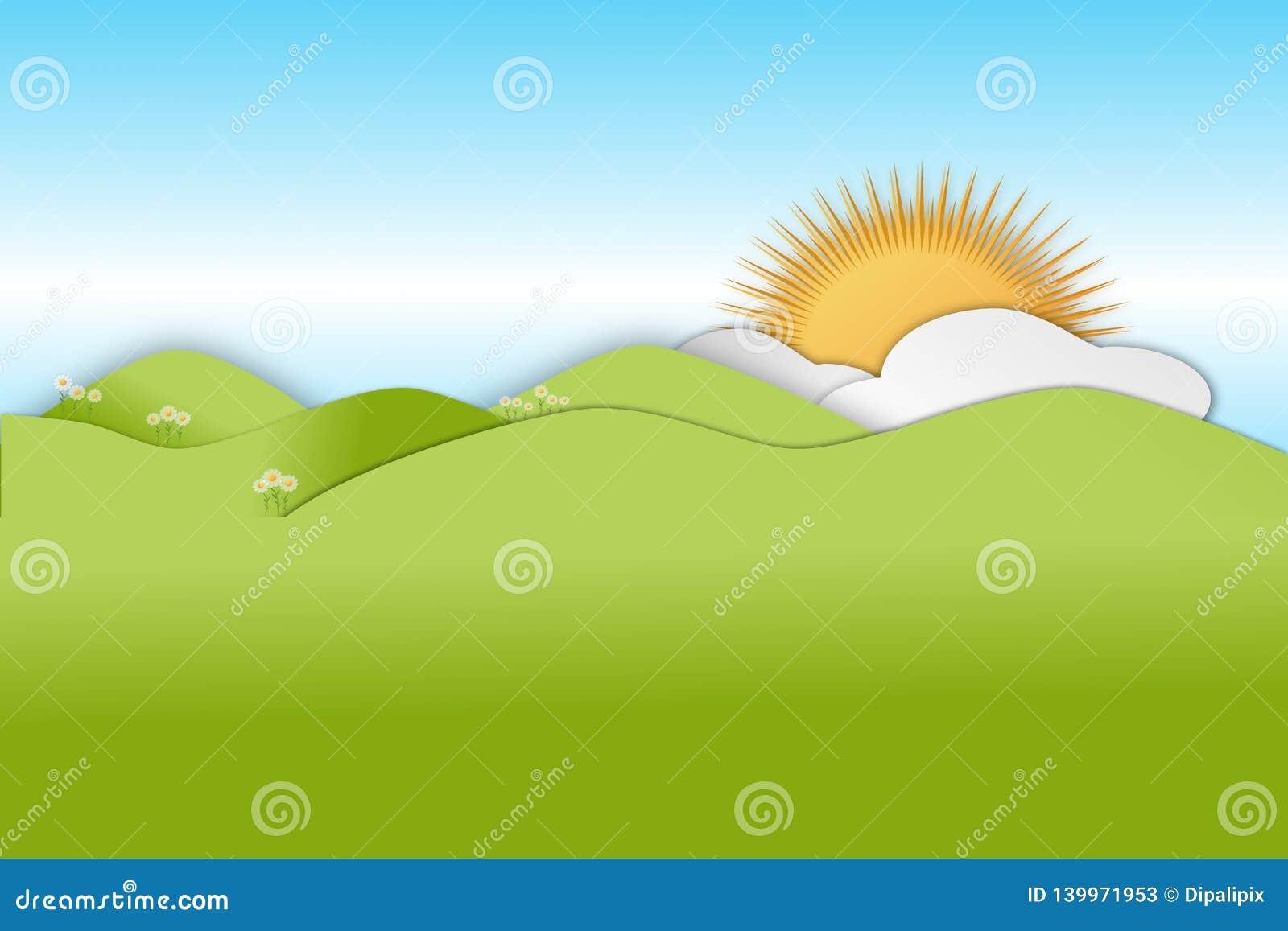 Montes verdes de rolamento na estação de mola com nuvens e sol