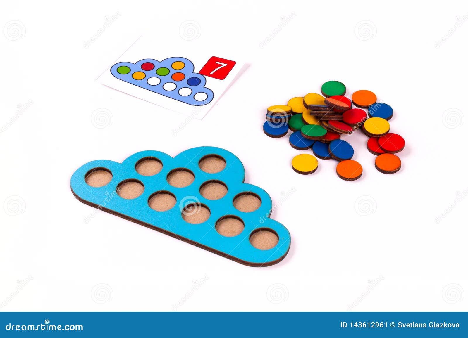 Montessori drewniany materiał dla uczenie matematyki dzieci przy szkołą, preschool, dzieciniec pojęcie edukacyjny