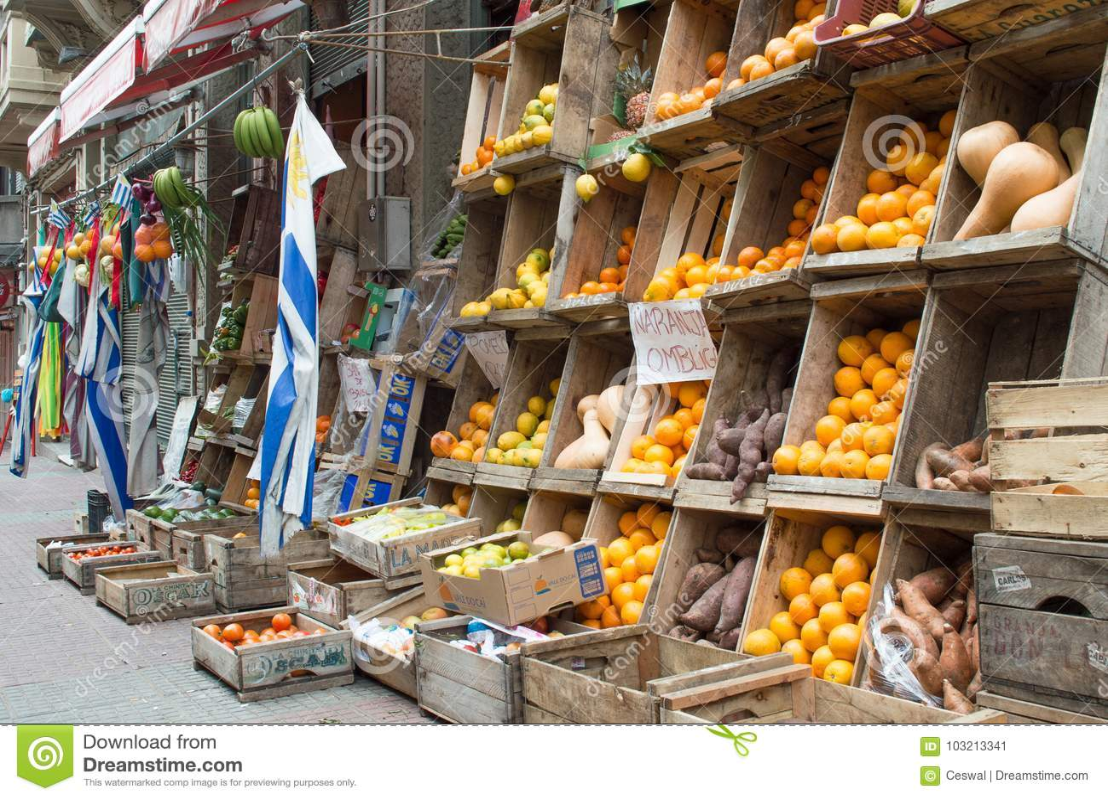 """MONTEVIDEO URUGUAY †""""OKTOBER 8, 2017: Frukt- och grönsakställning i staden"""