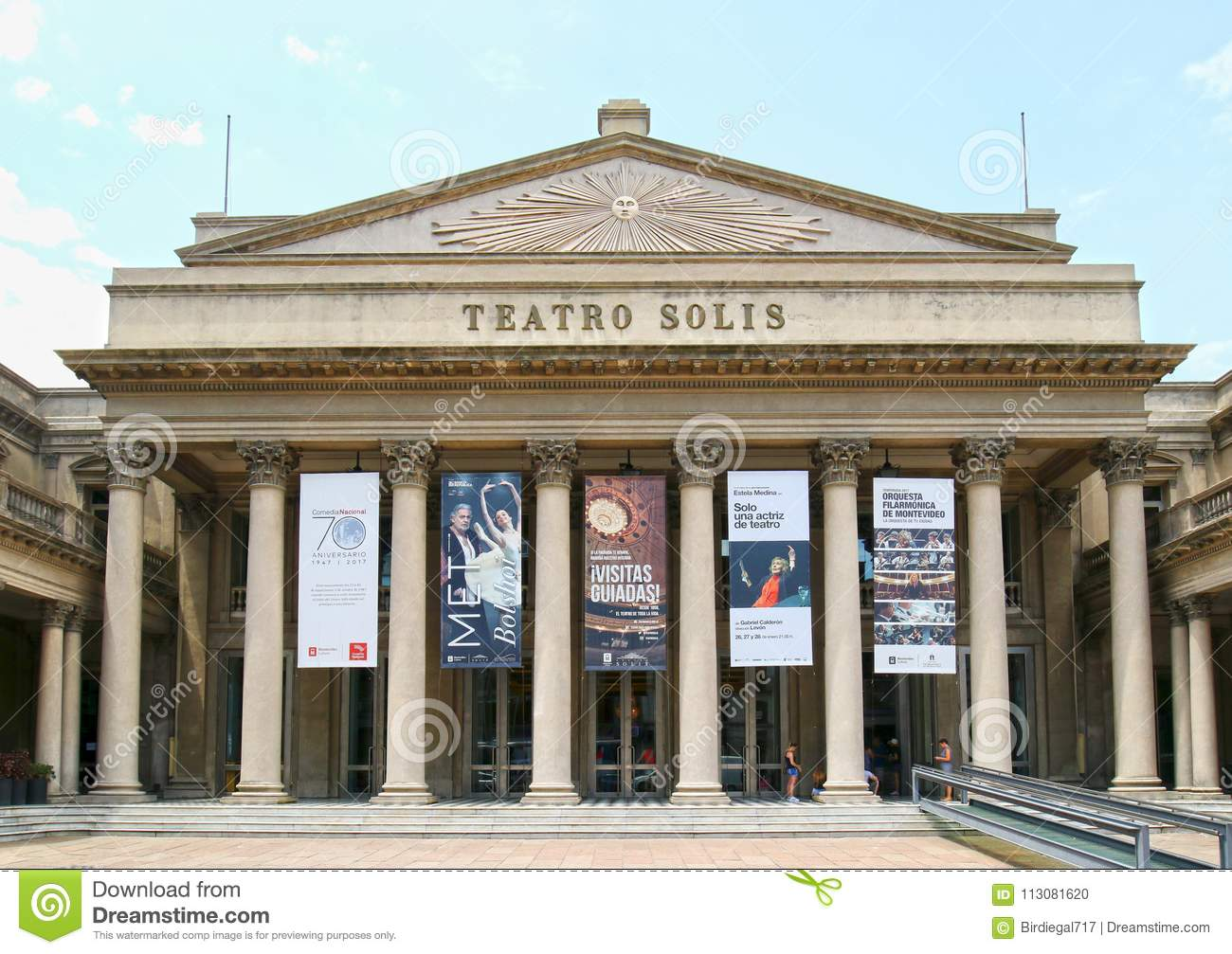 MONTEVIDEO, URUGUAY - January 4, 2017: Frontal view of the renowned Teatro Solis. Uruguay`s oldest theatre was built in 1857 and