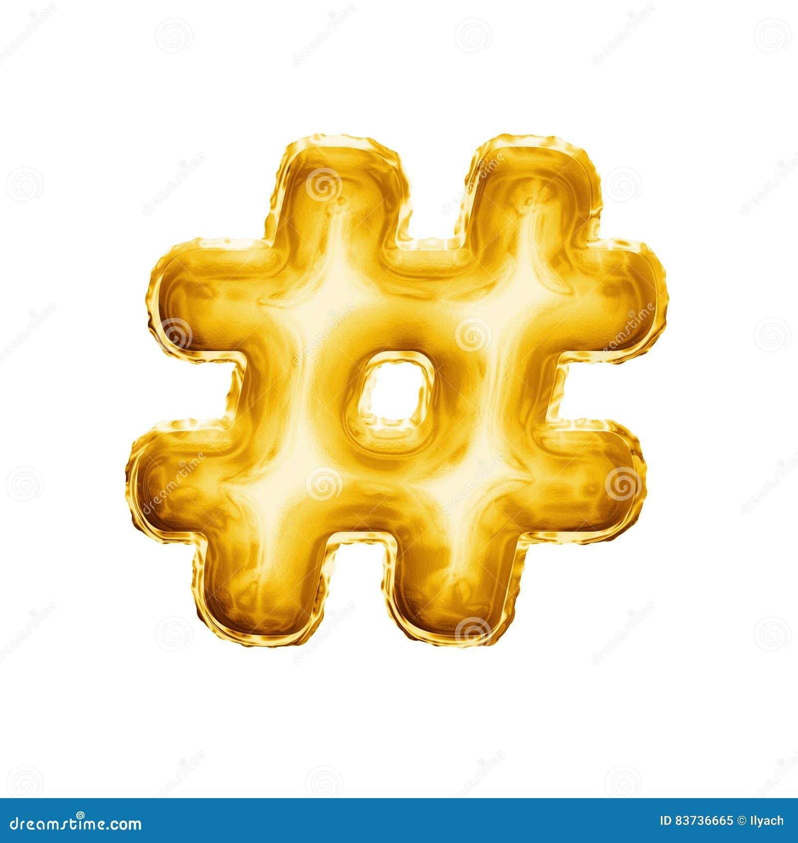 Montez en ballon l alphabet réaliste d aluminium d or du symbole 3D de signe de nombre de hashtag