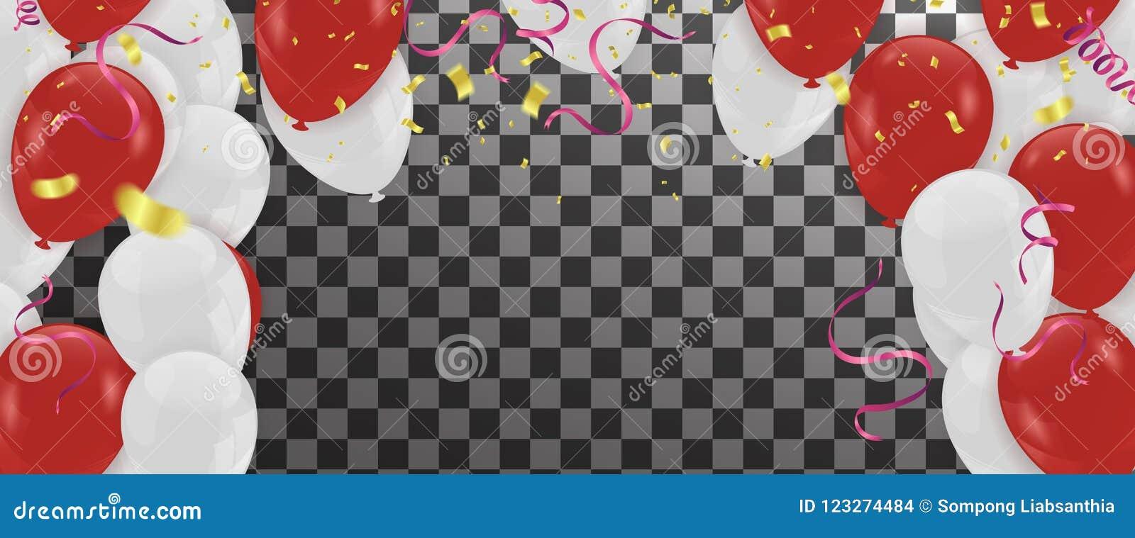 Montez en ballon le bunc brillant de ballons de partie de décoration blanche rouge d anniversaire