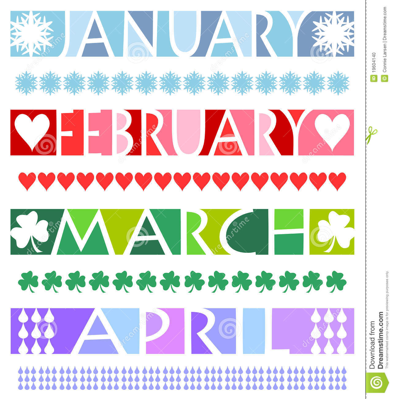 ... matching borders for the months January, February, March and April