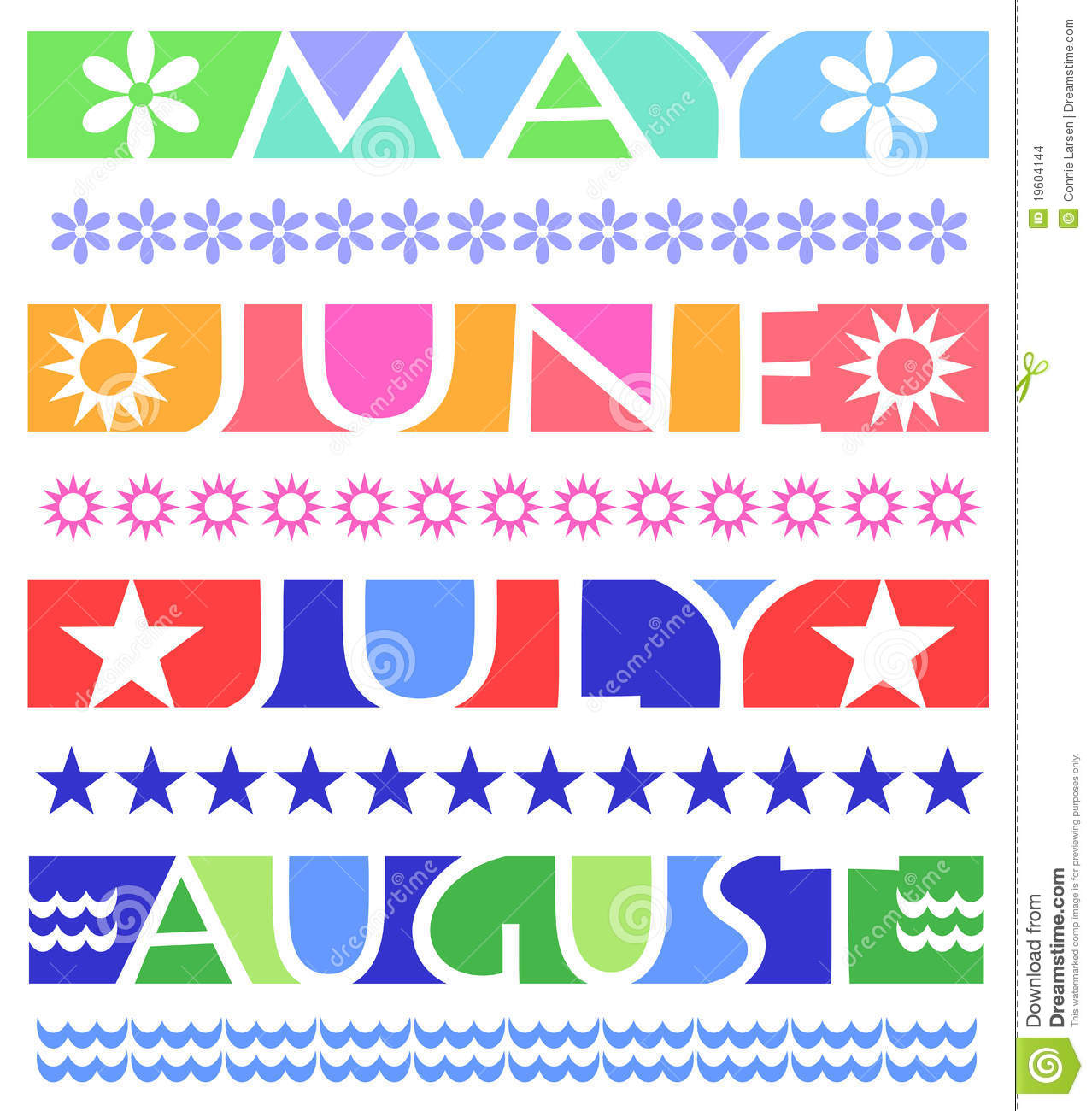 June Calendar Banner : Month banners and borders eps stock vector illustration