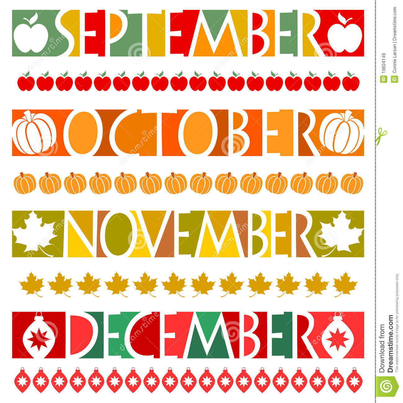Illustrations of banners and matching borders for the months September ...