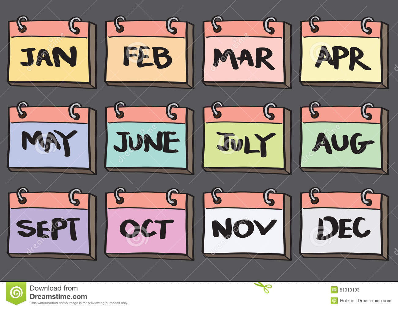 Monthly Calendar Clipart : Month calendar cartoon vector icon set stock
