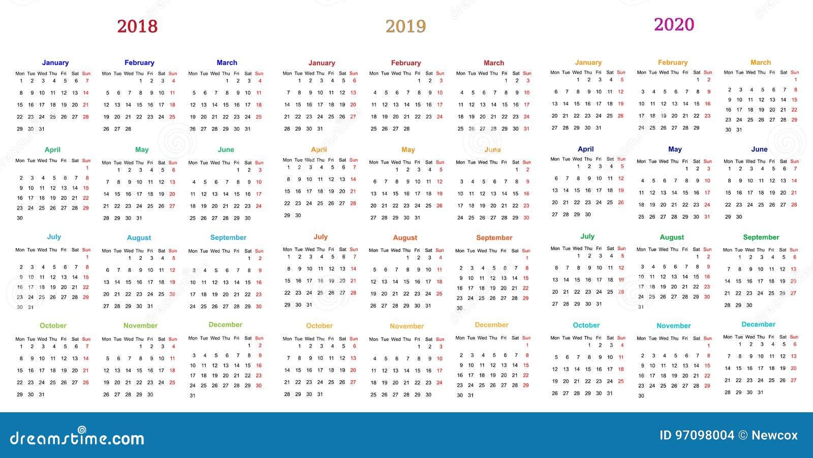 Calendario 2020 Editable Illustrator.12 Month Calendar Design 2018 2019 2020 Stock Vector