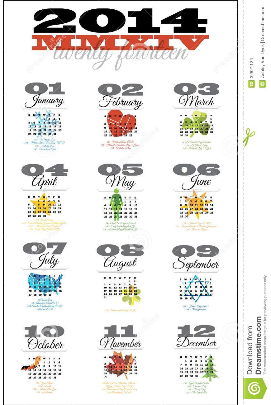 12 month calendar for 2014 featuring holiday dates from around the ...