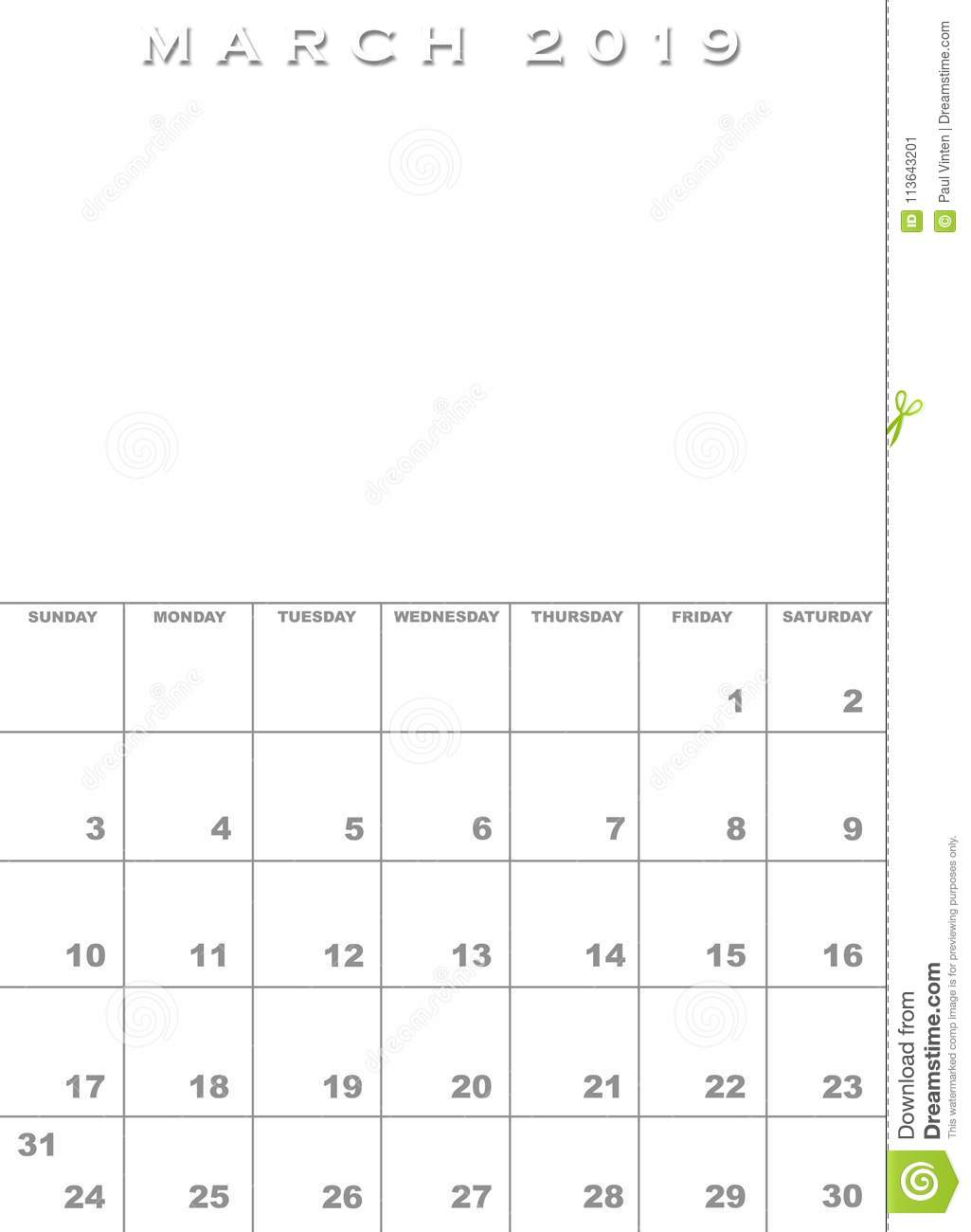 March 2019 Calendar Template Stock Illustration