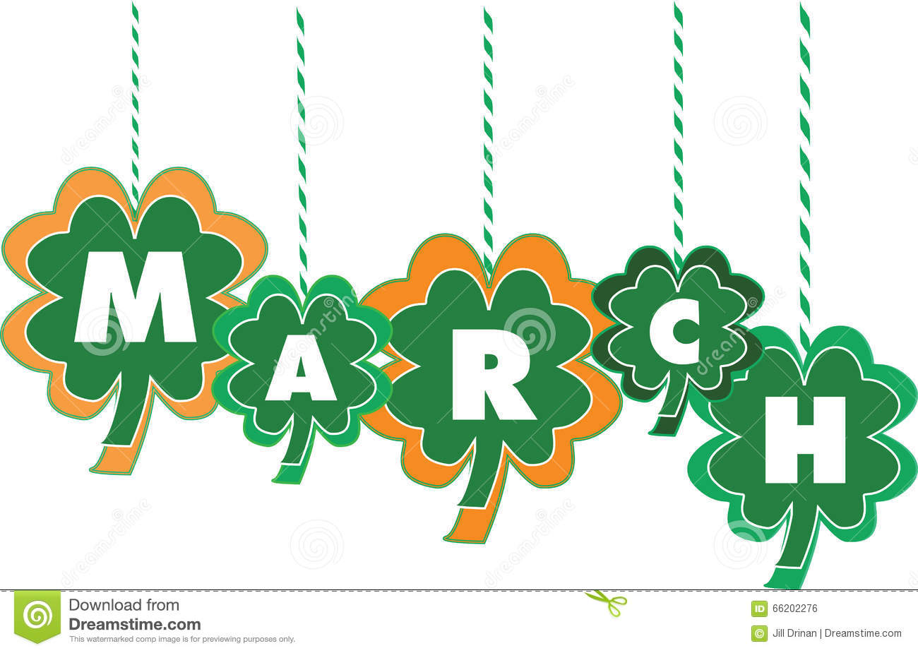 Calendar Clip Art March : Month of march text within shamrocks stock vector