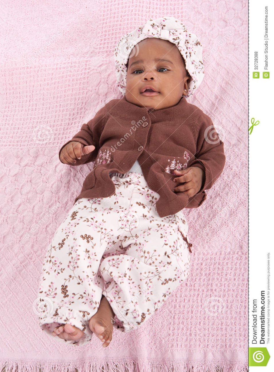 3 Month Old Little Baby African American Girl Portrait