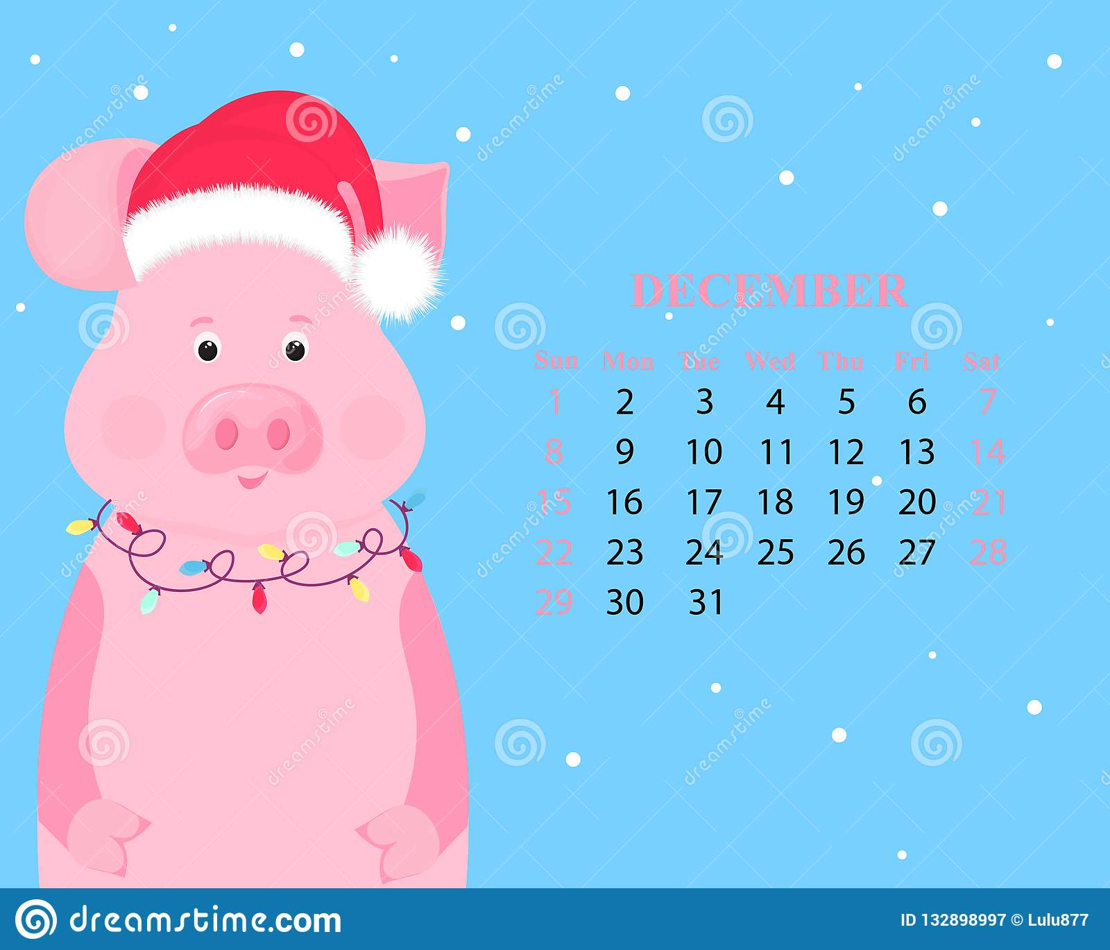 December Calendar 2019 Santa Monthly Calendar For December 2019. Cute Pig In A Hat Of Santa