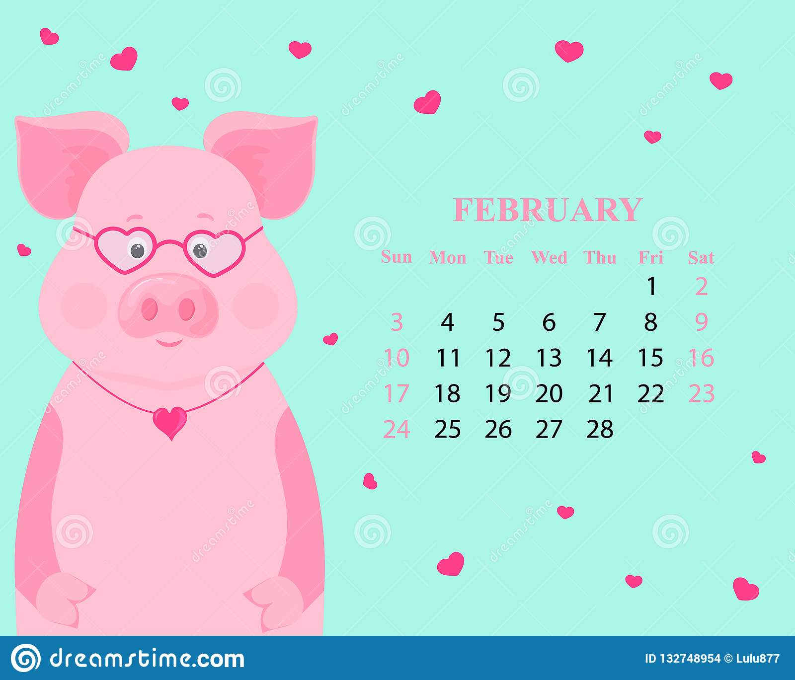Chinese Calendar February 2019 Monthly Calendar For February 2019. Cute Pig With Glasses And