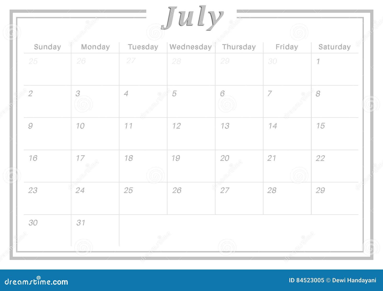 Monthly Calendar July 2017 stock illustration  Illustration