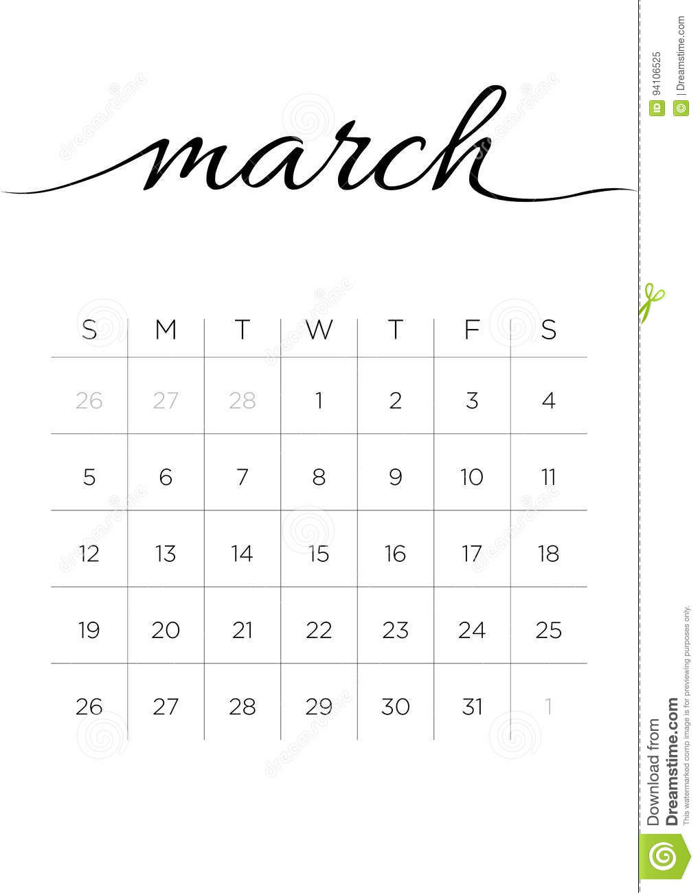 Monthly Calendar March 2017