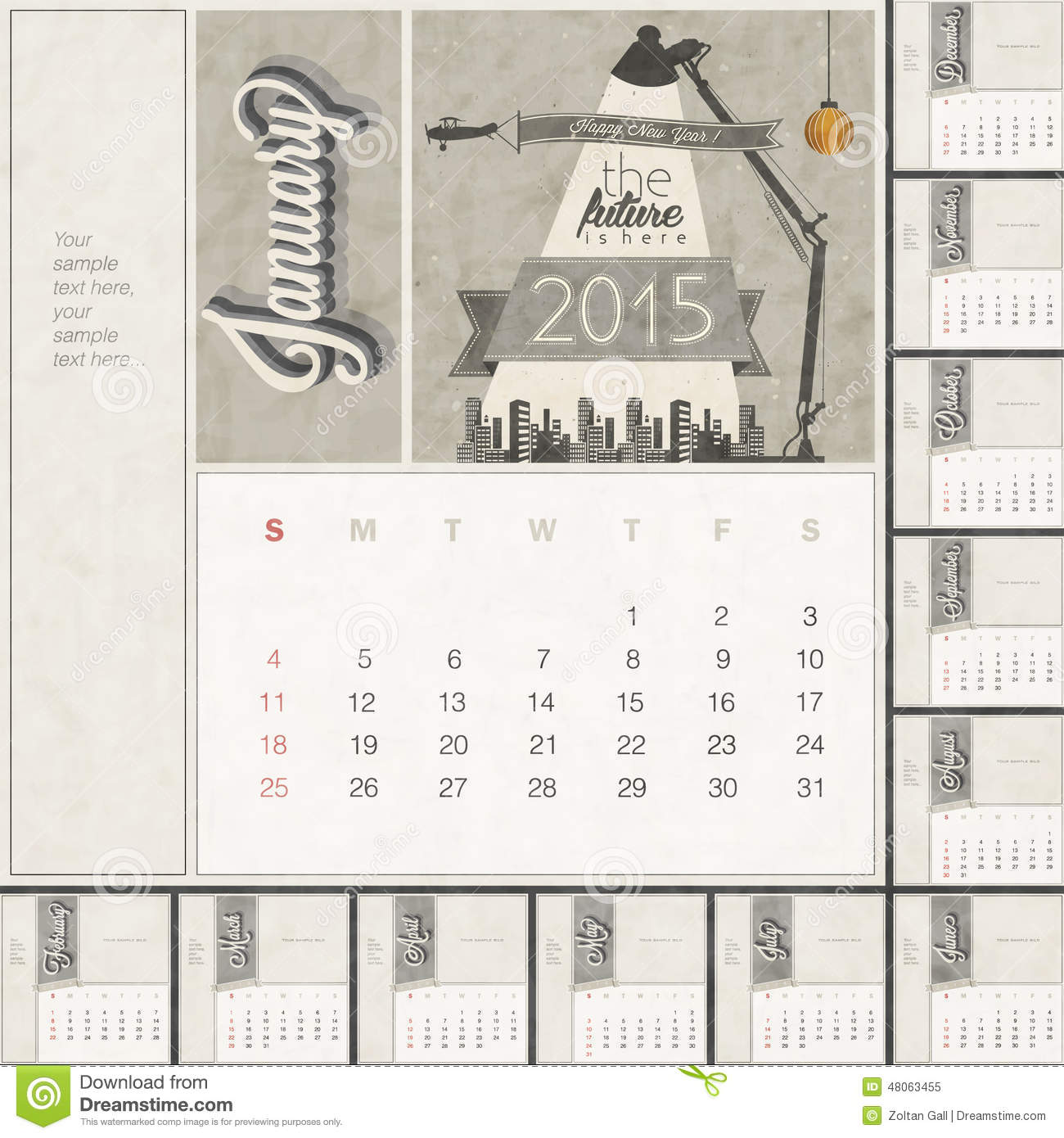2015 Monthly Calendar Template Stock Vector Illustration Of