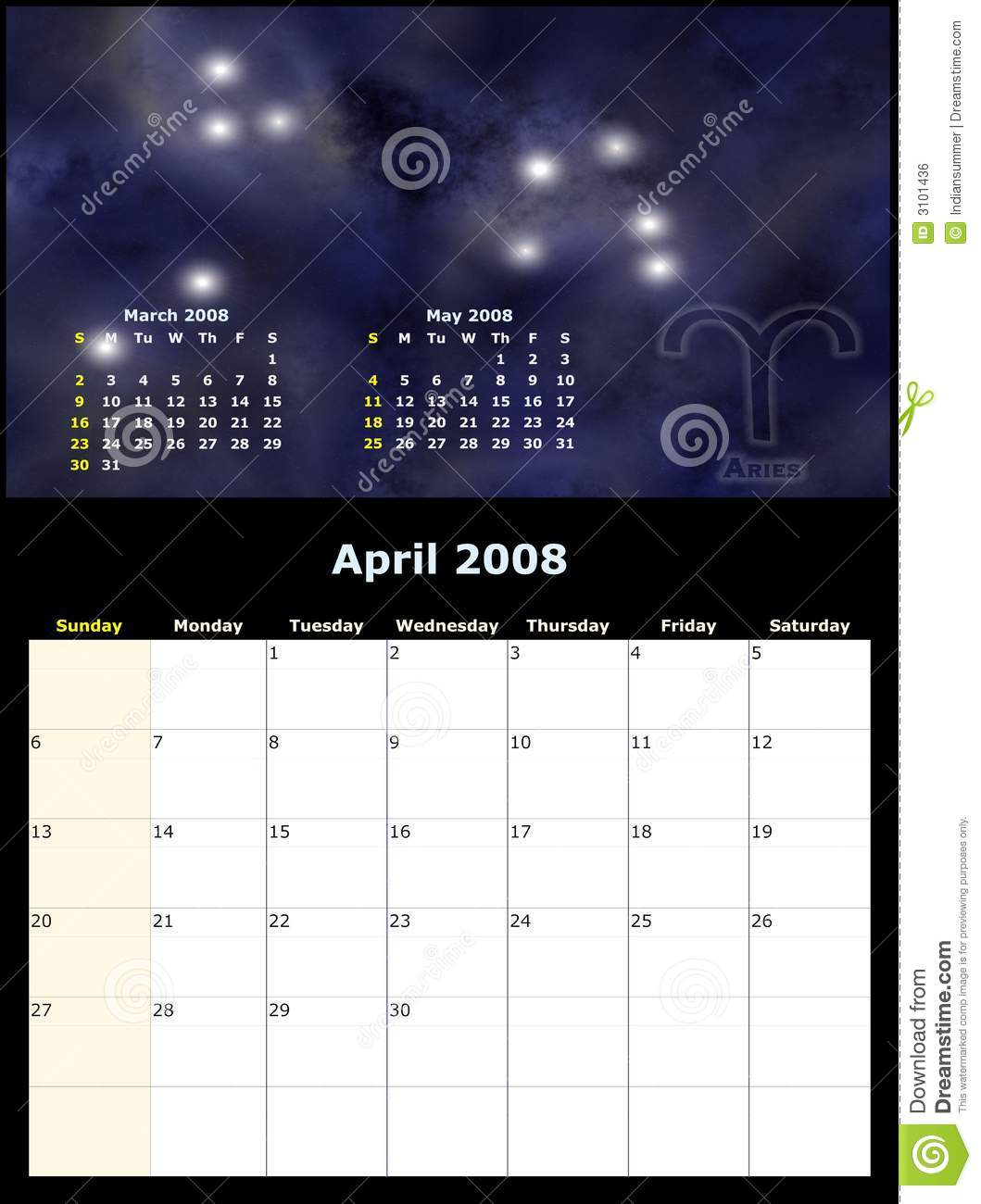 Monthly Zodiac Calendar : Monthly calendar with zodiac royalty free stock image