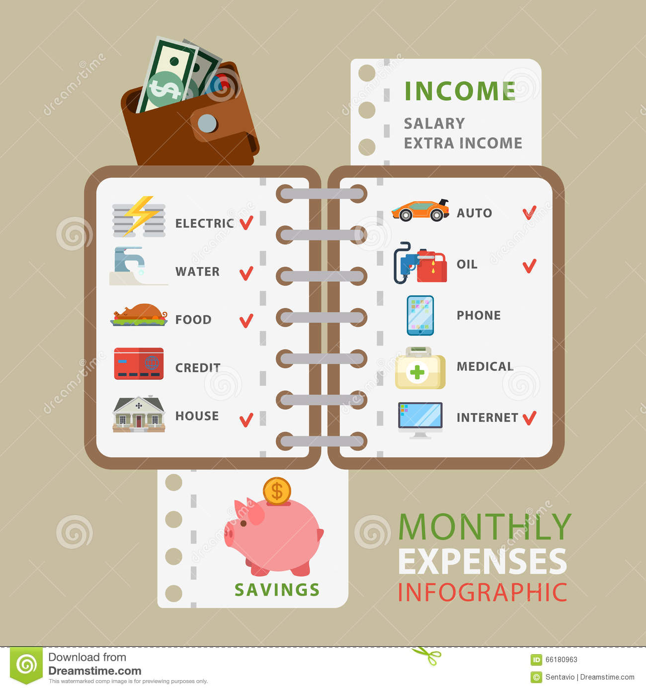 monthly expenses flat vector infographic  costs list bill