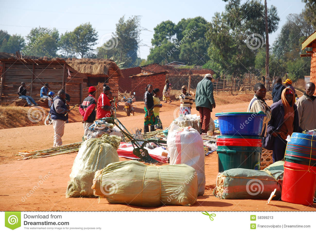 The Monthly Market In The Village Of Pomerini In Tanzania
