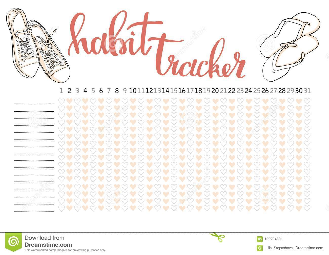 picture regarding Bullet Journal Habit Tracker Printable named Month-to-month Planner Routine Tracker Blank Template Inventory Vector