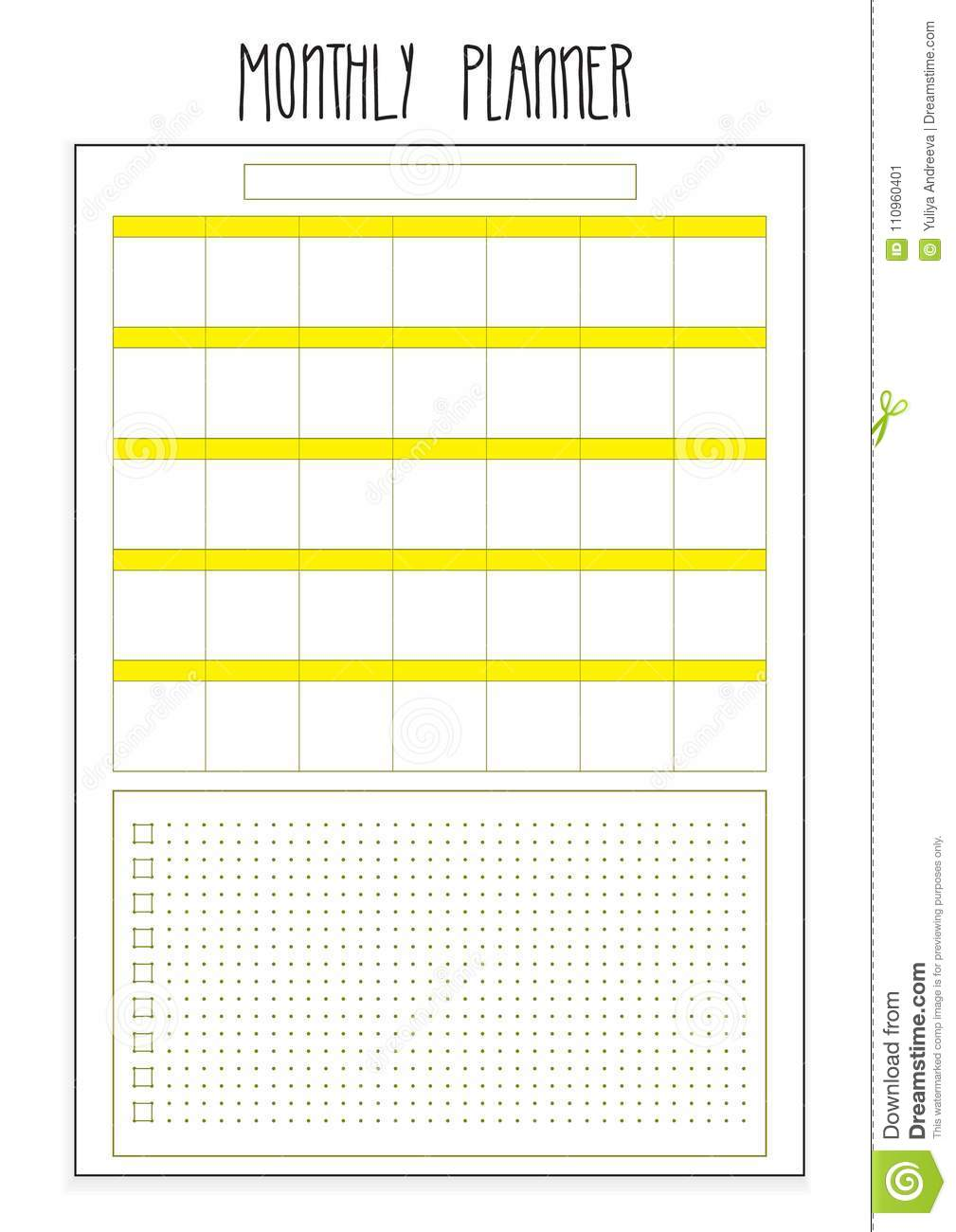 image regarding Monthly Organizer called Month to month Planner Printable Webpages. Vector Organizer Template
