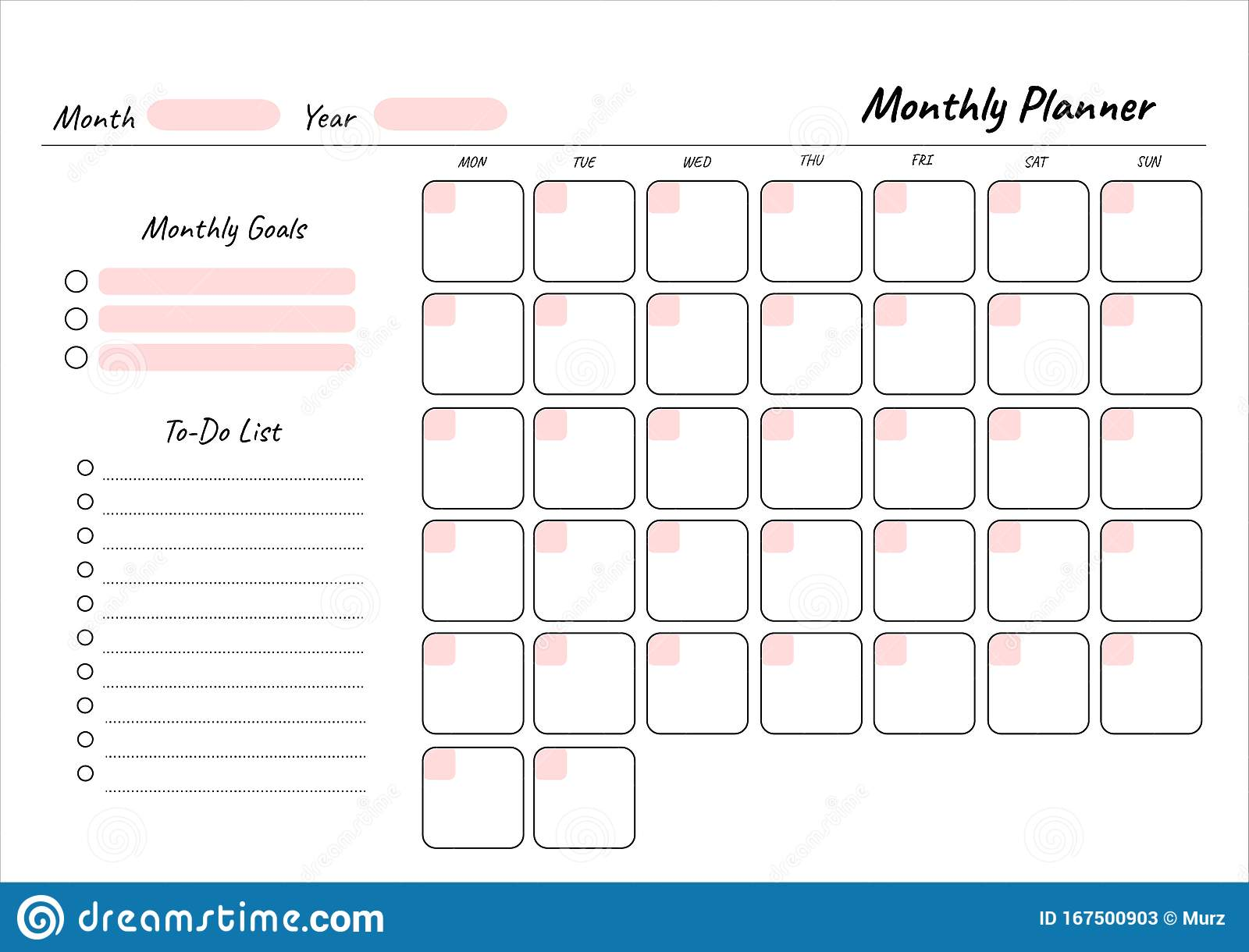 monthly planner printable template vector  blank white