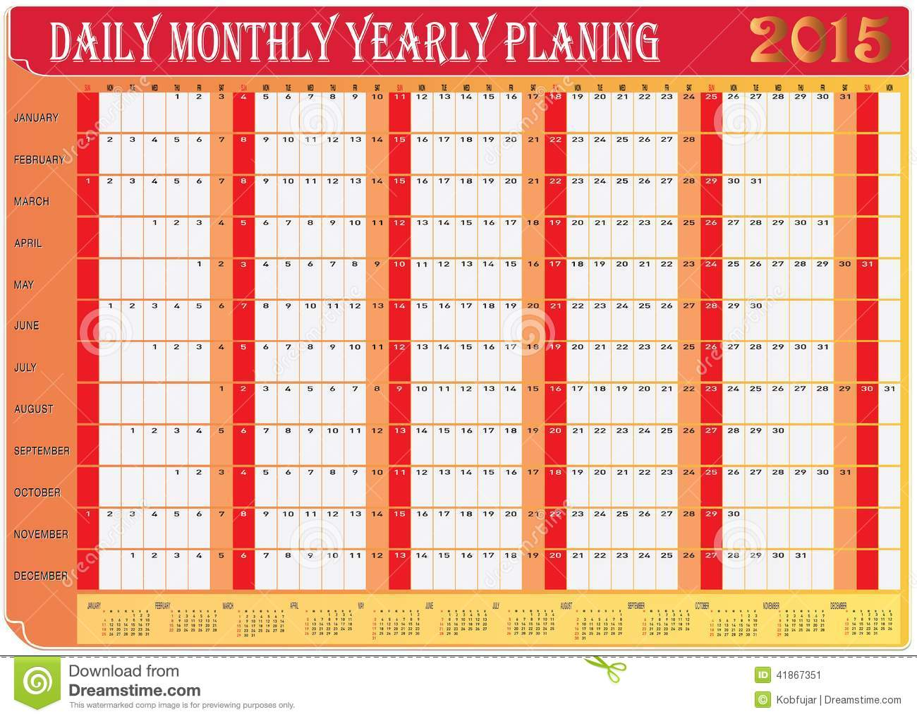 Year Calendar Chart : Daily monthly yearly calendar planing chart stock
