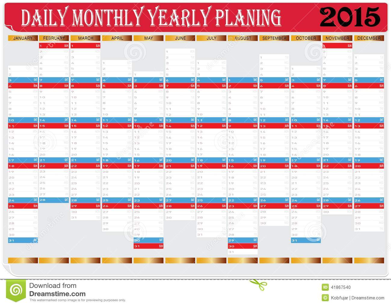 Monthly Calendar Yearly : Daily monthly yearly calendar planing chart stock