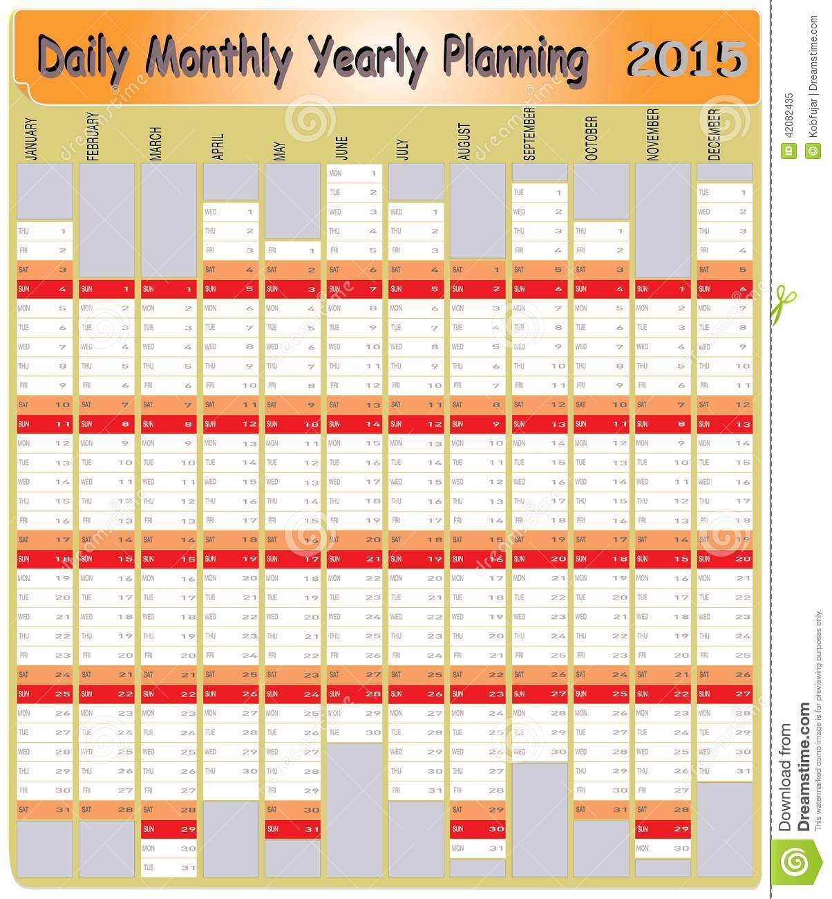 Calendar Planner Vector Free : Daily monthly yearly calendar planning chart stock