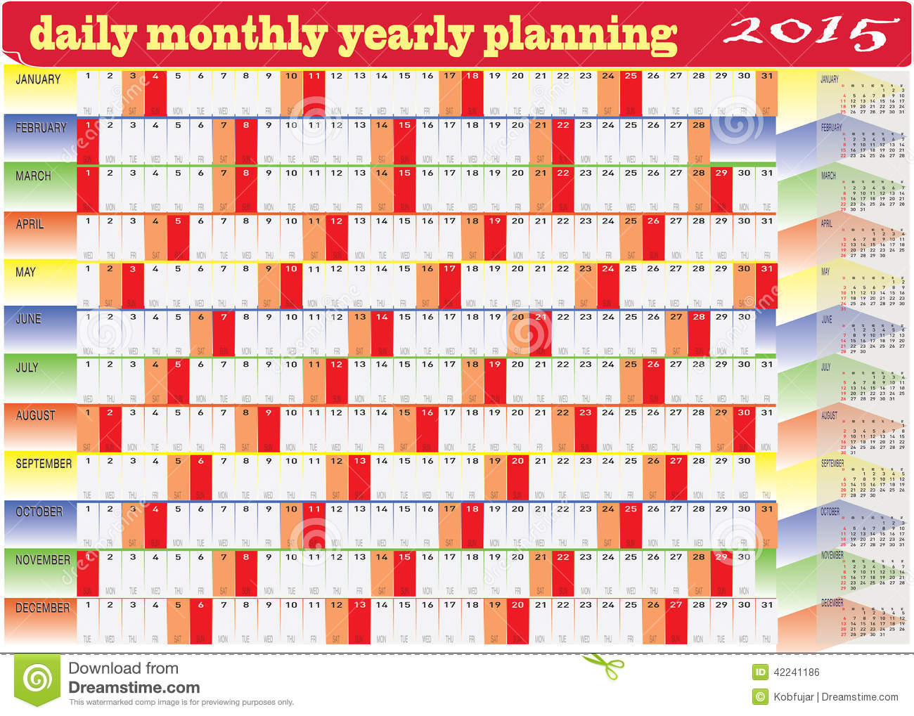 Monthly Calendar Yearly : Daily monthly yearly calendar planning chart stock