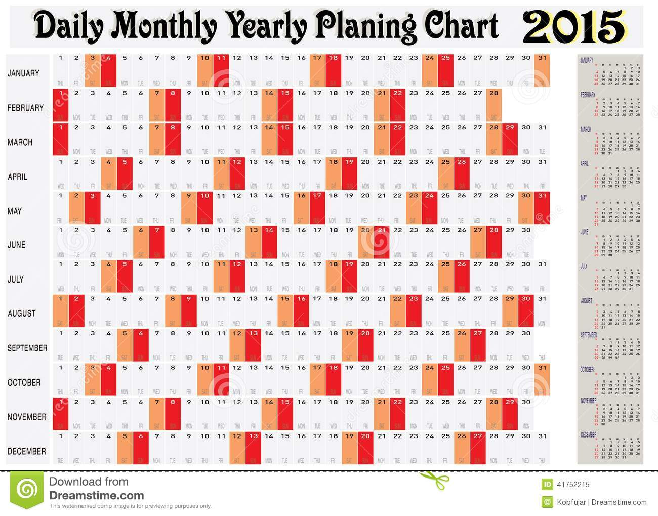 Daily Monthly Yearly Planing Chart 2015