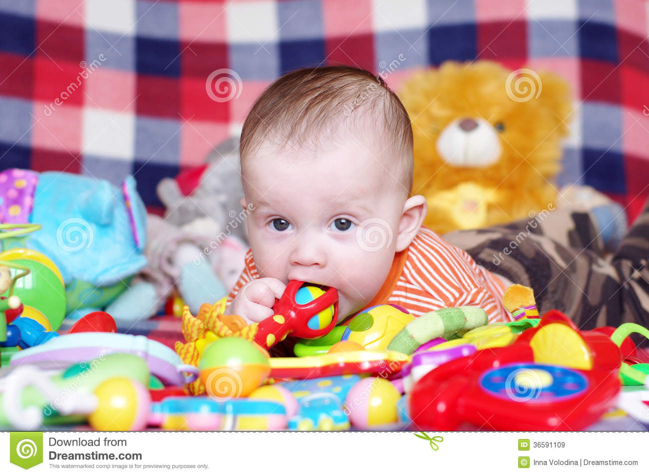 5 Months For Baby Toys : Months baby with toys stock image of funny