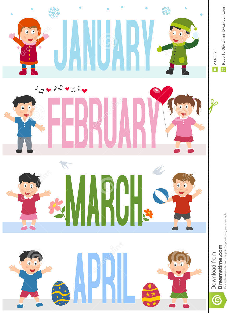 ... and the months January, February, March and April. Eps file available
