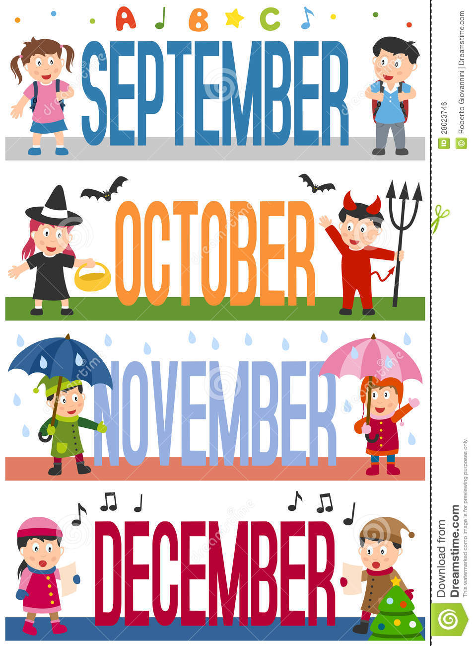 Months Banners With Kids 3 Stock Vector Illustration